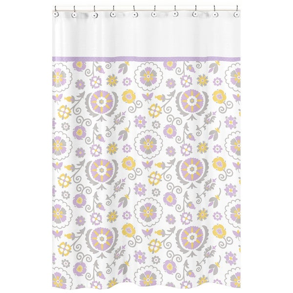 Sweet Jojo Designs Suzanna Lavender and White Shower Curtain