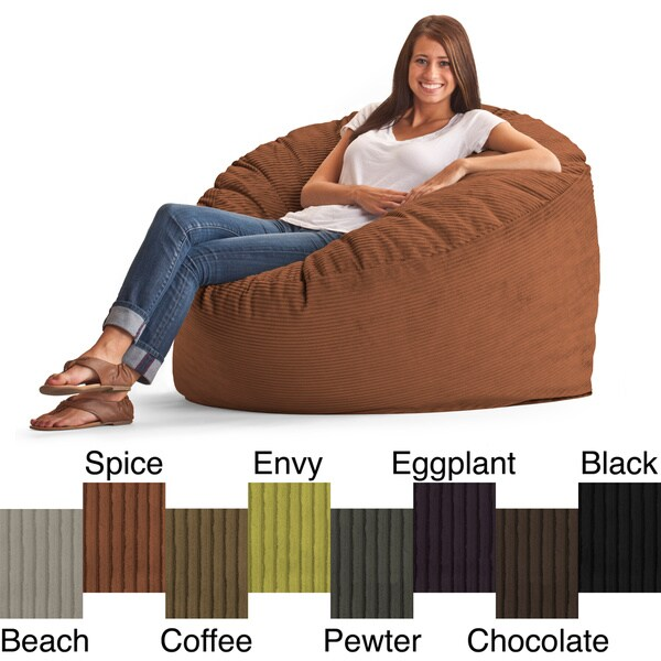 FufSack Wide Wale Corduroy 4 Foot Large Bean Bag Chair