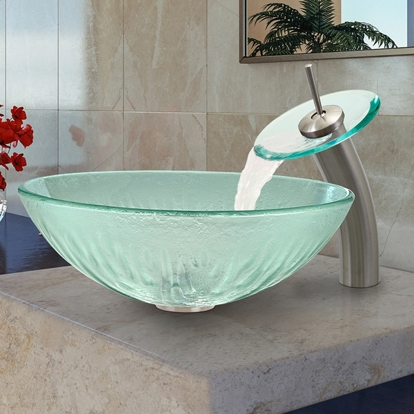 Shop Vigo Brushed Nickel Icicles Glass Vessel Sink And Waterfall