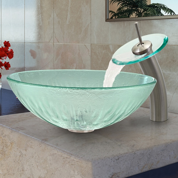 VIGO Icicles Glass Vessel Sink and Brushed Nickel Waterfall Faucet Set ...