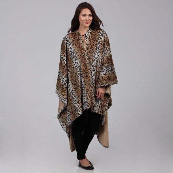 Faux Fur Leopard Poncho Throw