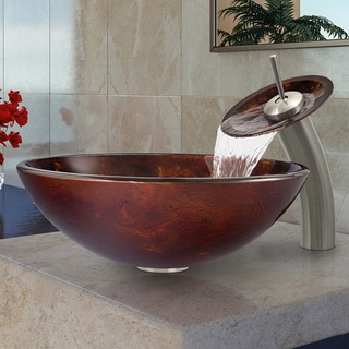 VIGO Brown and Gold Fusion Glass Vessel Sink and Brushed Nickel Waterfall Faucet Set