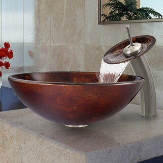 VIGO Brown and Gold Fusion Glass Vessel Sink and Waterfall Faucet Set in Brushed Nickel
