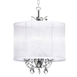 Designer 3-light Polished Chrome White Silk Drum Shade Crystal Mini Chandelier