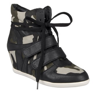Journee Collection Women's 'Alana-Camo' Lace-up Wedge High Tops