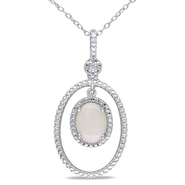 Miadora Sterling Silver Opal and Diamond Necklace