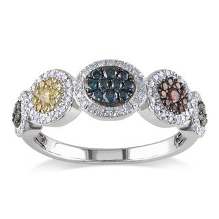 Miadora Sterling Silver 1/2ct TDW Multi-color Diamond Ring