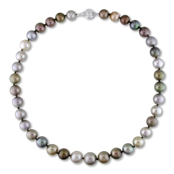 Miadora Signature Collection 14k White Gold Tahitian Multi-Black Pearl Necklace (10-13 mm)