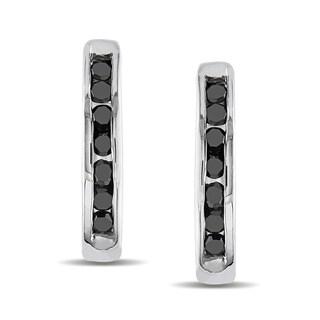 Miadora 10k White Gold 1/4ct TDW Black Diamond Hoop Earrings