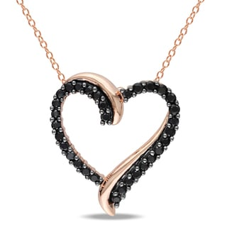Miadora Rose Plated Silver Black Spinel Heart Necklace