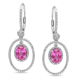Miadora Sterling Silver Pink Sapphire and 1/8ct TDW Diamond Earrings
