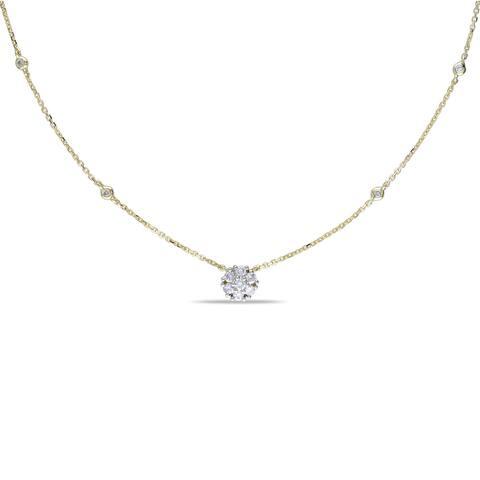 Miadora 14k Yellow Gold 1/3ct TDW Diamond-by-the Yard Necklace