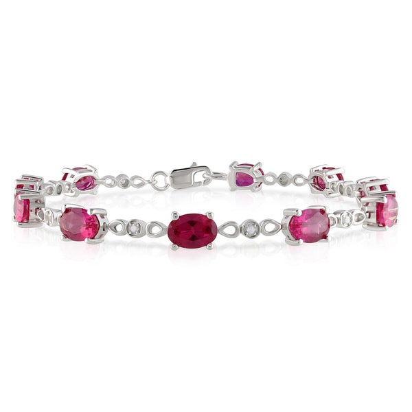 Miadora Sterling Silver Created Ruby 1/8ct Diamond Bracelet (H-I, I2-I3)