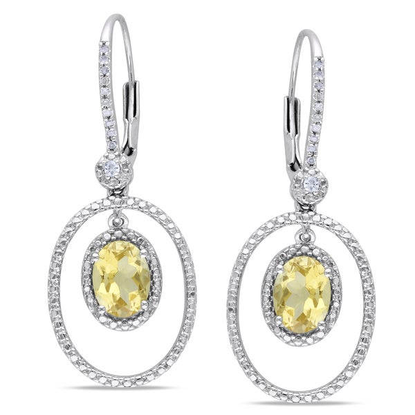 Miadora Sterling Silver Citrine and 1/8ct TDW Diamond Earrings (I2-I3)