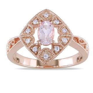 Miadora 10k Rose Gold Morganite 1/10ct TDW Diamond Ring (H-I, I2-I3)