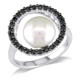 Miadora 14k White Gold FW Pearl and 1/2ct TDW Black Diamond Ring