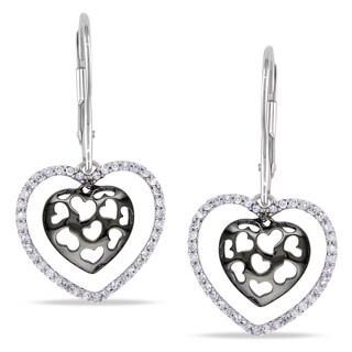 Miadora 10k White Gold 1/4ct TDW Diamond Heart Earrings