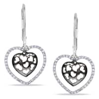 Miadora 10k White Gold 1/4ct TDW Diamond Heart Earrings