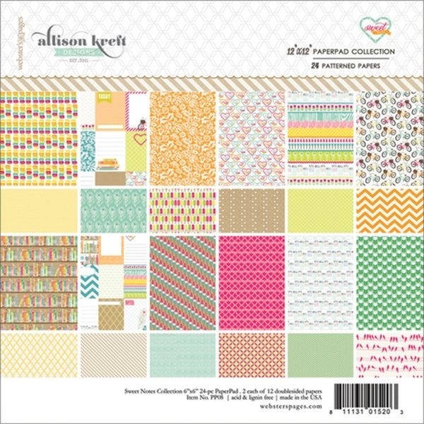 Sweet Notes Collection Pad 12X12in 24/Sheets