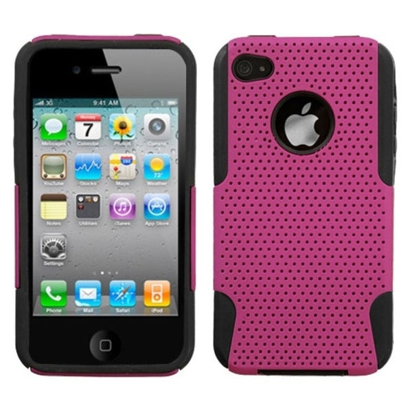 INSTEN Hot Pink/ Black Astronoot Phone Case Cover for Apple iPhone 4S/ 4