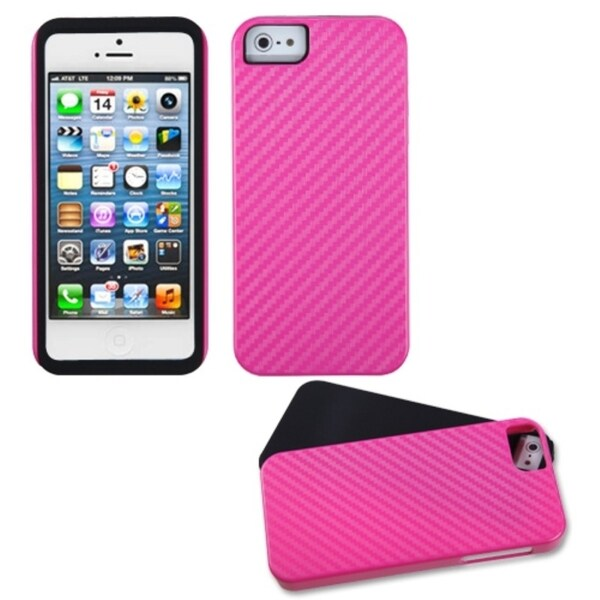 INSTEN Hot Pink/ Crosshatch Fusion Phone Case for Apple iPhone 5/ 5S/ SE