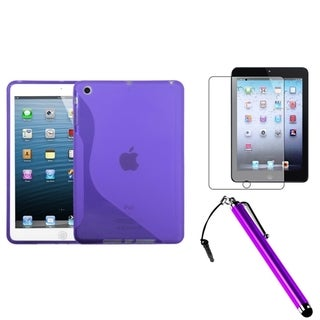 INSTEN Purple Tablet Case Cover/ Stylus/ Screen Protector for Apple iPad Mini