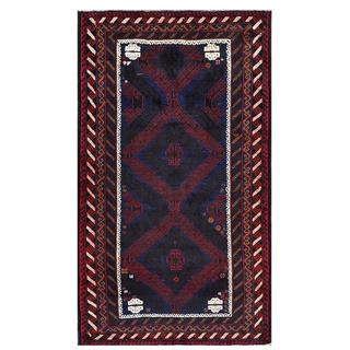 Herat Oriental Afghan Hand-knotted Tribal Balouchi Wool Rug (3'10 x 6'9)