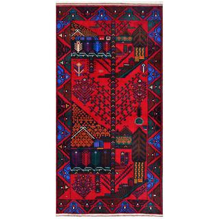 Herat Oriental Afghan Hand-knotted Tribal Balouchi Wool Rug (3'7 x 6'5)