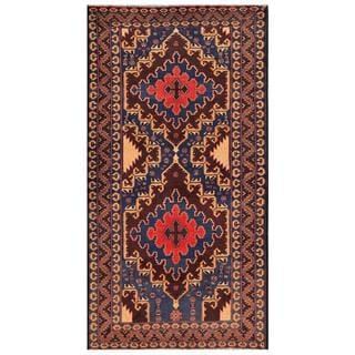 Herat Oriental Afghan Hand-knotted Tribal Balouchi Wool Rug (3'3 x 6'3)
