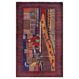 Herat Oriental Afghan Hand-knotted Tribal Balouchi Wool Rug (3'10 x 6'3)