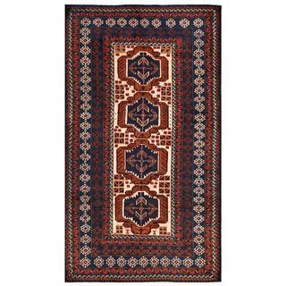 Herat Oriental Afghan Hand-knotted Tribal Balouchi Wool Rug (3'8 x 6'7)