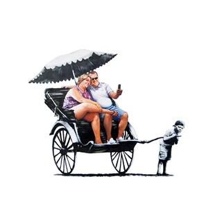 iCanvas Banksy 'Rickshaw Kid' Canvas Print Wall Art