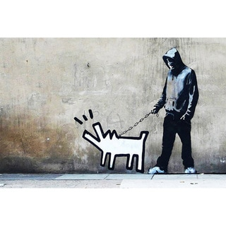 iCanvas Banksy 'Choose Your Weapon Keith Haring Dog' Canvas Print Wall Art