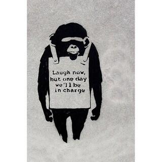 iCanvas Banksy 'Laugh Now, Sandwich Board-wearing Monkey' Canvas Print Wall Art