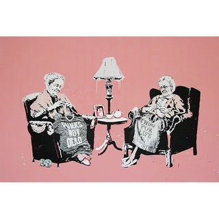 iCanvas Banksy 'Punk and Thug Grannies' Canvas Print Wall Art