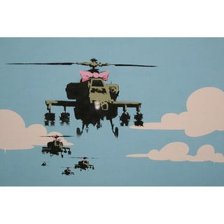 iCanvas Banksy 'Happy Choppers-Helicopter' Canvas Print Wall Art