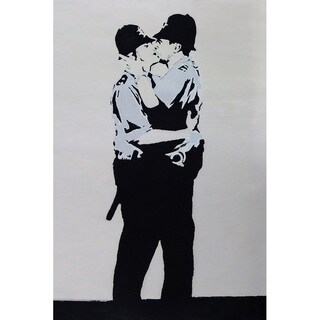iCanvas Banksy 'Kissing Coppers Police' Canvas Print Wall Art
