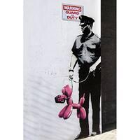 iCanvas Banksy 'Police Guard Pink Balloon Dog' Canvas Print Wall Art