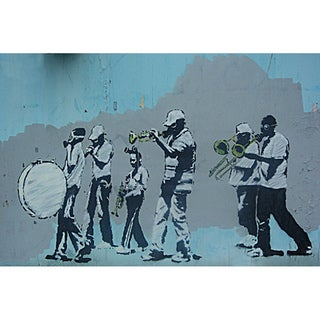 iCanvas Banksy 'Musicians Marching Band' Canvas Print Wall Art