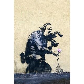 iCanvas Banksy 'Camera Man and Flower' Medium Canvas Print Wall Art
