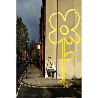 iCanvas Banksy 'Yellow Lines Flower Road Painter' Canvas Print Wall Art