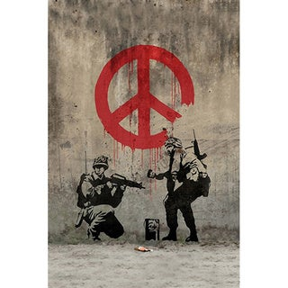 iCanvas Banksy 'Soldiers Painting Peace Sign' Canvas Print Wall Art