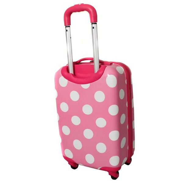 Rockland Pink Polka Dot 20-inch Lightweight Hardside Spinner Carry ...
