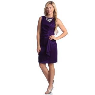 London Times Women's Sleeveless Ruched Sheath Dress