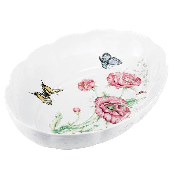 Shop Lenox Butterfly Meadow Scalloped Oval Baker Free