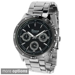 Geneva Platinum Men's Chronograph-style Polished Link Watch