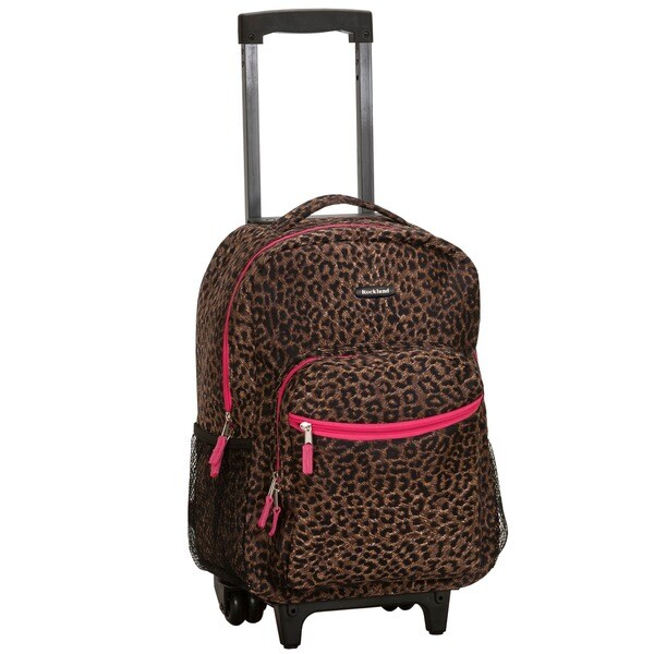 Rockland Leopard Designer Print 17-inch Rolling Carry-on Backpack