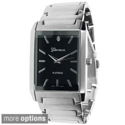 Geneva Platinum Men's Rectange Face Polished Link Watch