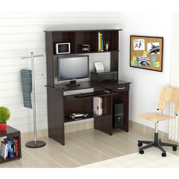 Inval EspressoWenge Computer Work Center with Hutch Free