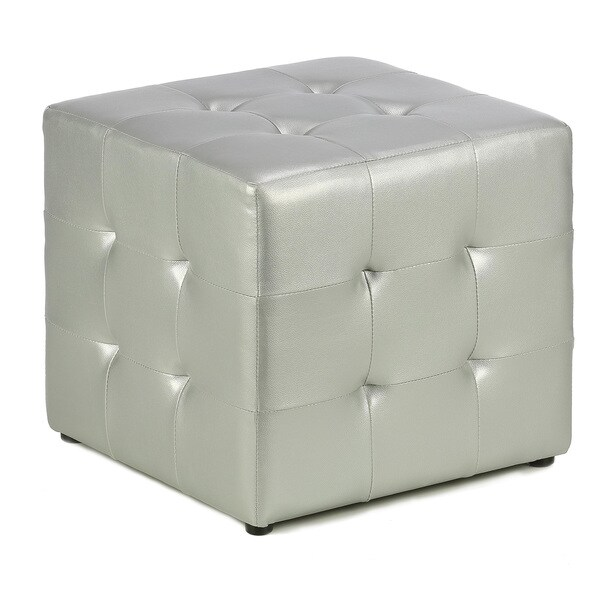 Shop Silver Metallic Cube Ottoman Free Shipping Today